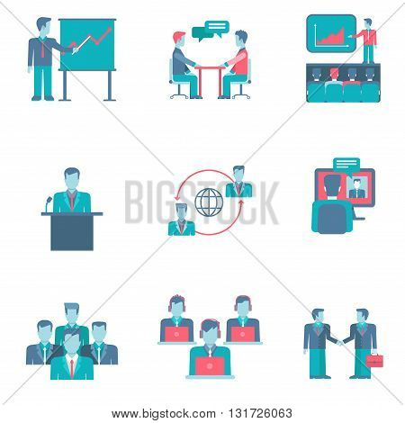Flat style business people infographics user interface icons set