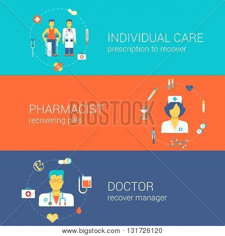 Doctor nurse pharmacist medical care concept flat template set