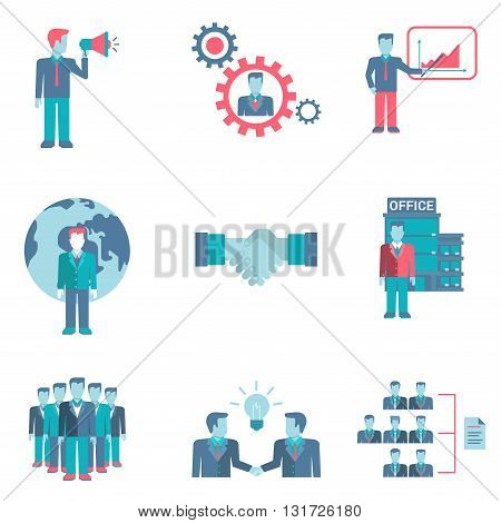 Flat style partnership staff workforce business people figures