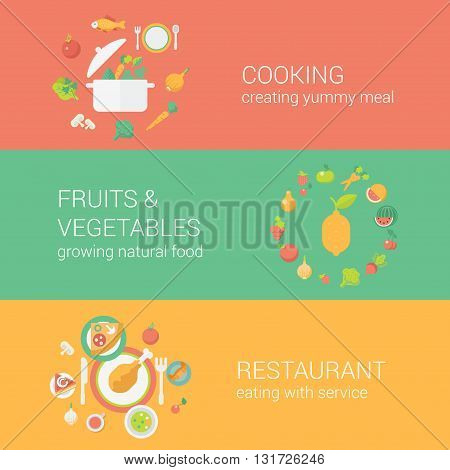 Food concept flat icons set cooking meal fruits vegetables