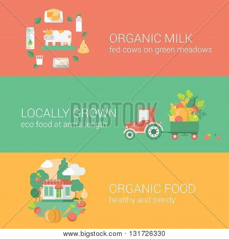 Food concept flat icons set vector web infographics