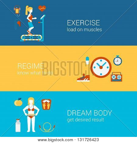 Sports flat icons banners template vector website infographics