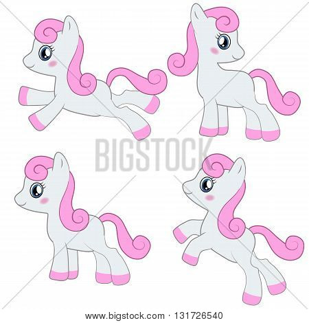 Set of differently cartoon baby horse pony.