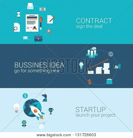 Business contract idea startup concept flat banners template set