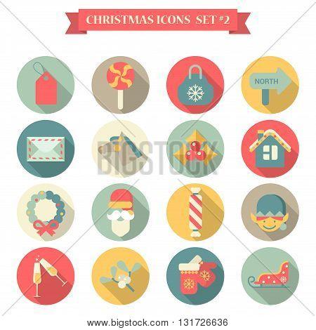 Christmas New Year icon set flat style