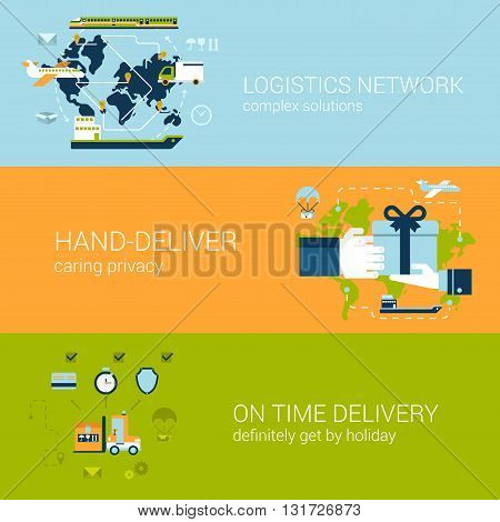 Logistics delivery concept flat wector banners template set
