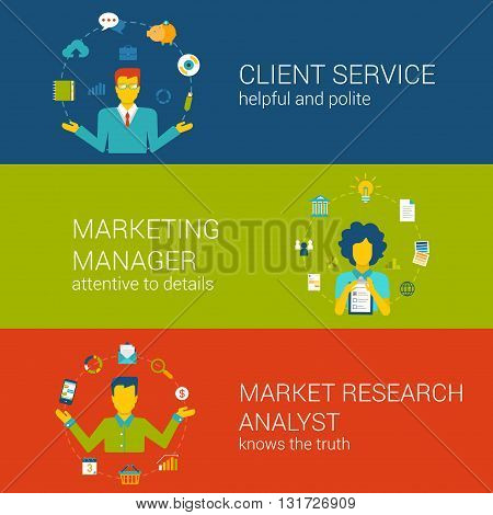 Marketing CRM concept flat web template set vector infographics