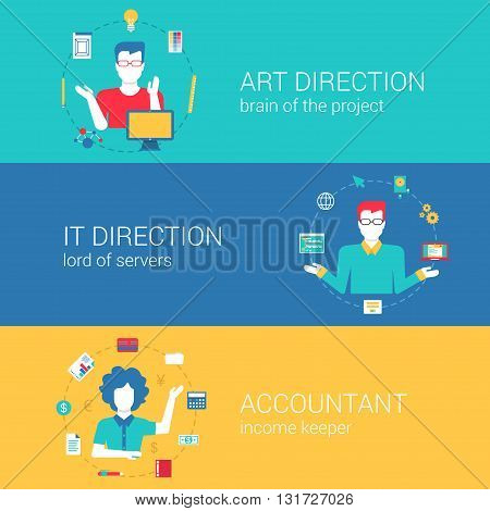 Top manager professions flat banners vector infographics