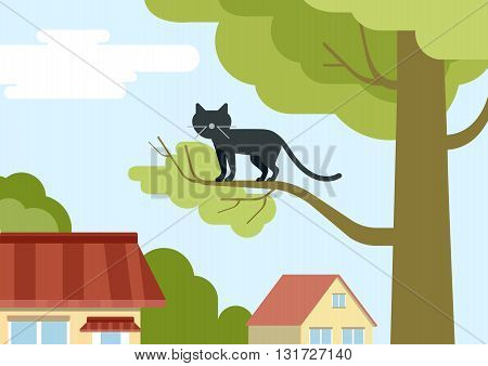 Cat on tree branch on the street flat design cartoon vector pets