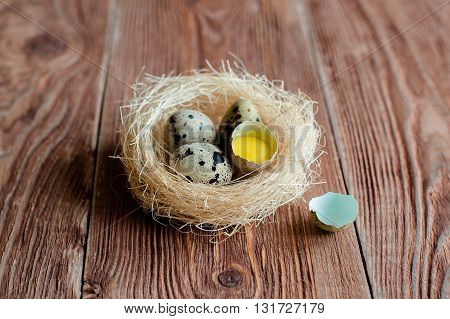 Brown wooden backgrond with nest with quail eggs and shell