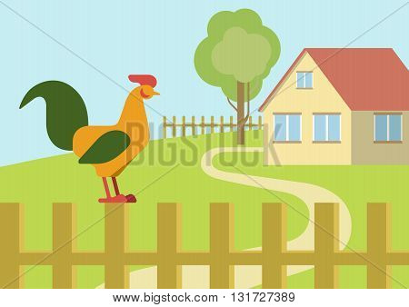 Cock rooster farm fence flat design cartoon vector animals birds