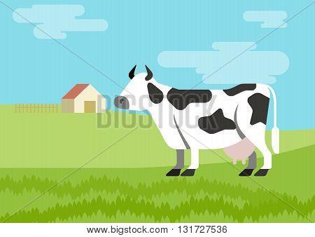 Cow flat design cartoon vector farm animals habitat