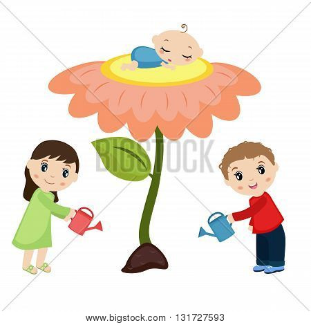 Baby sleeping on the flower. Man and woman watering flower. Happy family concept.
