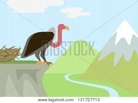 Griffin vulture rock nest flat cartoon vector wild animals birds