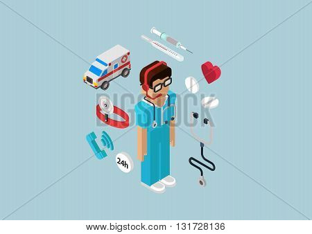 Emergency ambulance service doctor flat 3d isometric infographic
