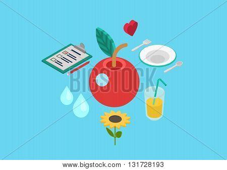 Healthy nutrition bio food flat 3d isometric concept vector