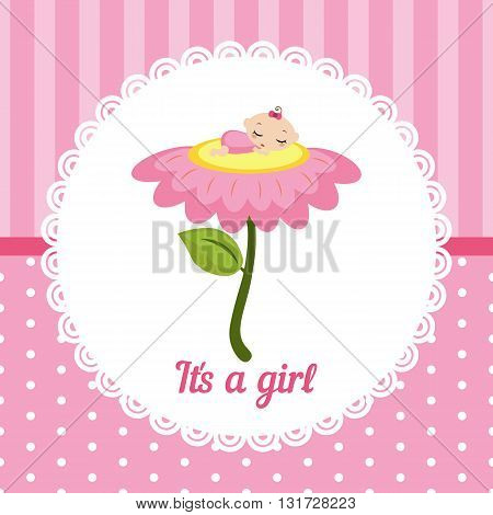 Cute baby girl card. Vector illustration of a baby sleeping on the flower.