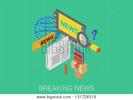 Breaking news, TV, newspaper flat 3d vector isometric concept