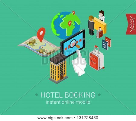 Travel hotel booking flat isometric vector infographic