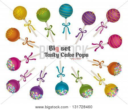 Set of tasty candy. Delicacy Cake Pops with gold and confetti sprinkles decoration.