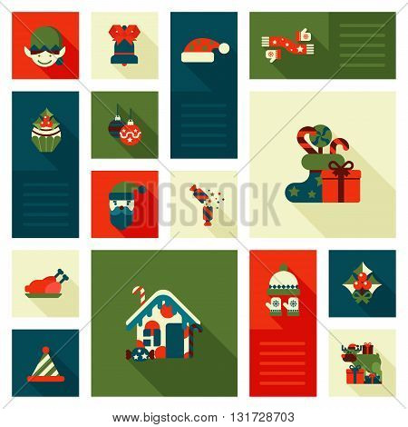 Christmas New Year icon set flat style sweets