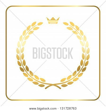 Gold laurel wreath with crown. Golden leaf emblem. Vintage design isolated on white background. Decoration for insignia banner award. Symbol of triumph sport victory trophy. Vector illustration.