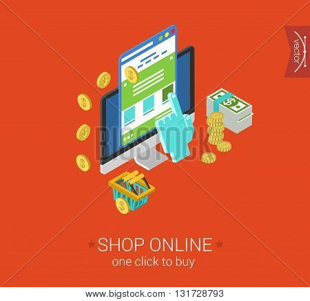 Online shopping process website buy click pay flat 3d isometric