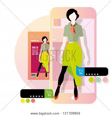Augmented reality in e-commerce, concept, flat illustration