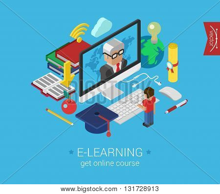 Online education course e-learning flat 3d isometric concept
