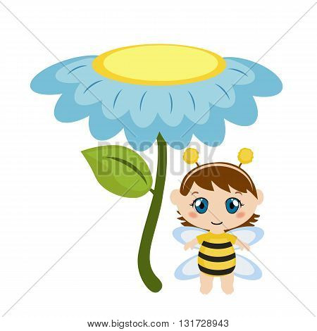 Baby dressed as bee. Background with flower.
