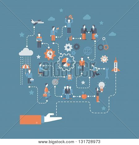 Business start flat infographics concept vector