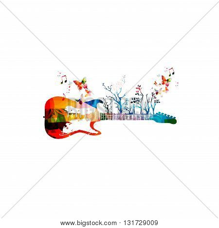 Colorful music background with guitar and butterflies