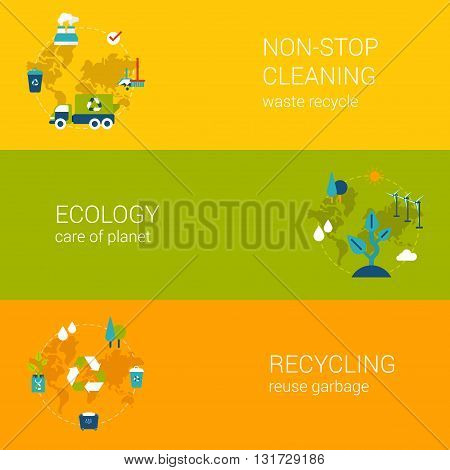 Ecology recycling waste cleaning flat web banners template set