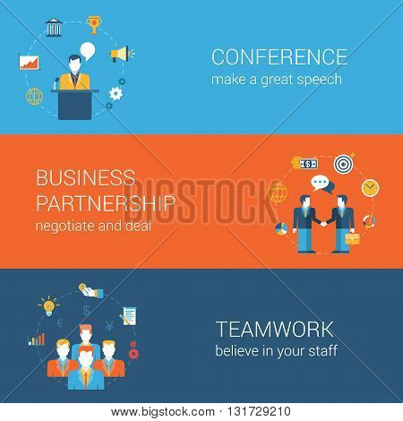 Business people flat web banners template set vector infographic