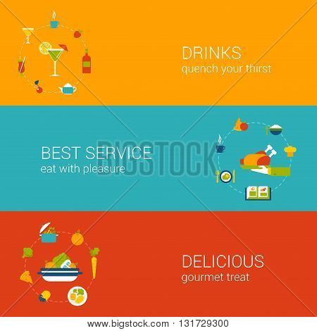 Meal time concept flat icons banners template set vector