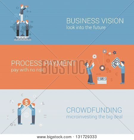 Business vision payment crowdfunding concept flat icons banners