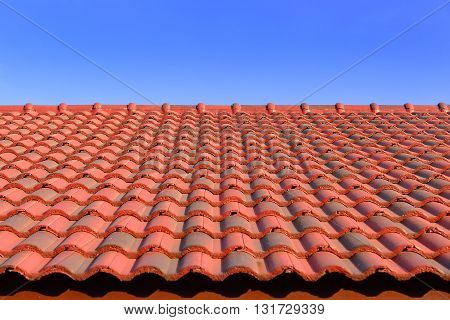 the red ceramic roof tile with sun light and blue sky