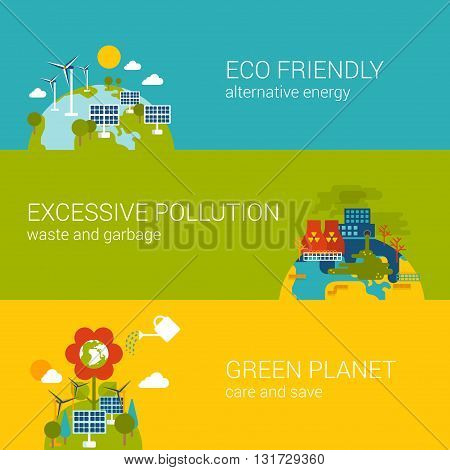 Ecology eco friendly pollution green planet flat web template