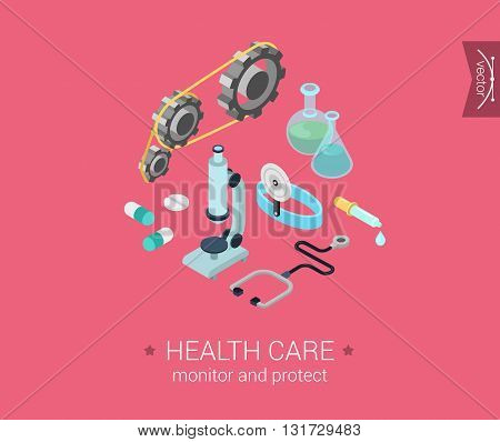 Health care, research flat 3d isometric vector infographic