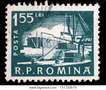 ZAGREB, CROATIA - JULY 18: A stamp printed in the Romania, shows the loading of the ship in port, circa 1960, on July 18, 2012, Zagreb, Croatia