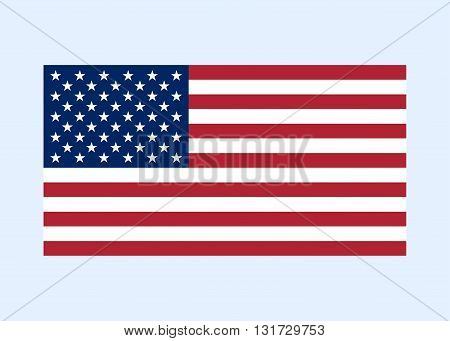 Flag USA sign. National symbol of freedom independence. Original simple clean United State Of America flag isolated on white background. Official colors and Proportion Correctly. Vector illustration