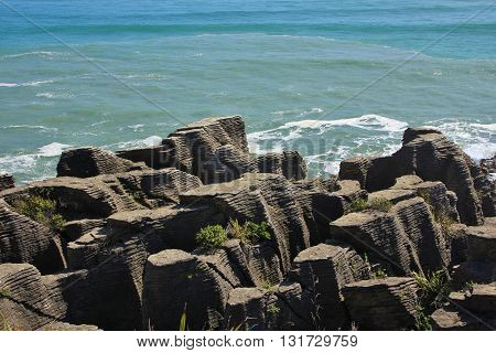 Unique rock formations in New Zealand. Pancake Rocks Punakaiki.