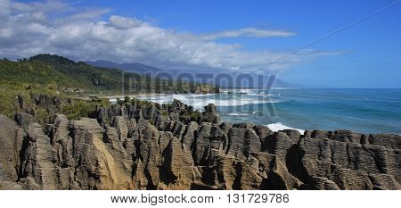 Pancake Rocks in Punakaiki New Zealand. Famous rock formations on the west coast.