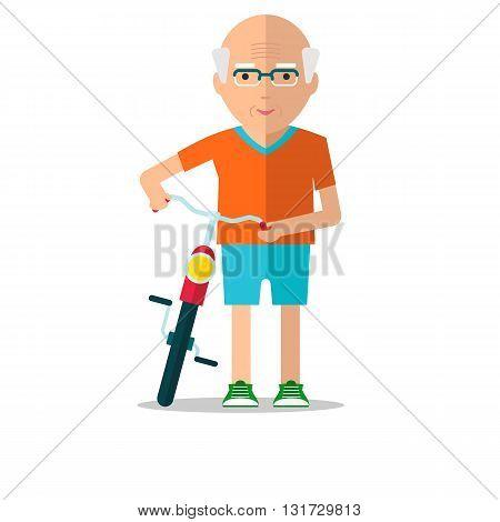 Elderly Man Walk With Bicycle