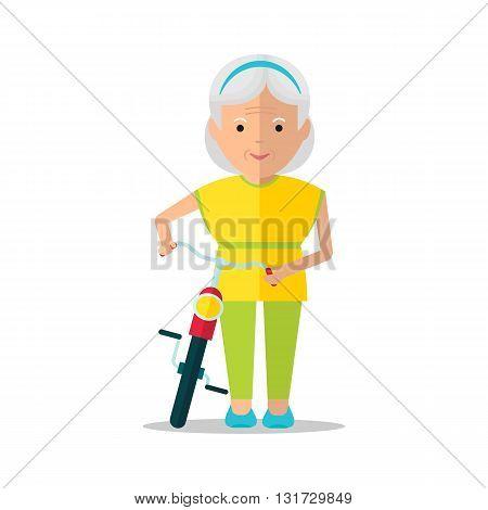 Elderly Women Walk With Bicycle