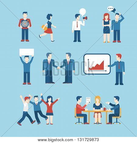 People icons business man situation web template vector icon set
