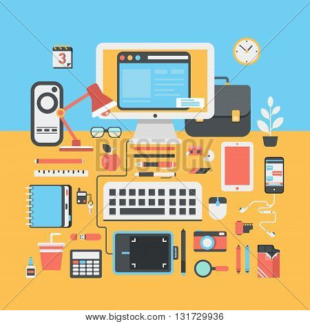 Office workspace creative person flat modern design illustration