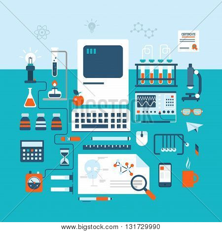 Science technology research laboratory workspace flat style lab
