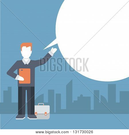 People talking message comic flat template vector businessman