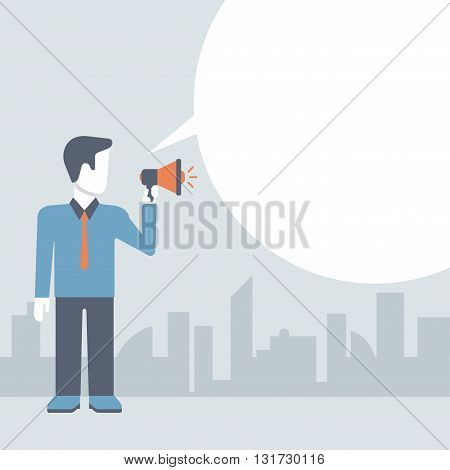 Businessman loudspeaker promotion concept comic flat template
